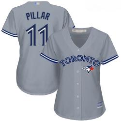 Blue Jays #11 Kevin Pillar Grey Road Women Stitched Baseball Jersey