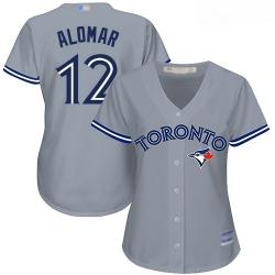 Blue Jays #12 Roberto Alomar Grey Road Women Stitched Baseball Jersey