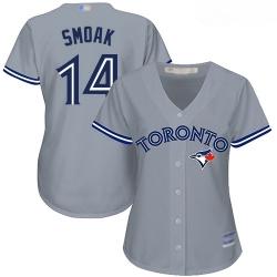 Blue Jays #14 Justin Smoak Grey Road Women Stitched Baseball Jersey