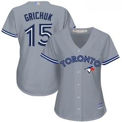 Blue Jays #15 Randal Grichuk Grey Road Women Stitched Baseball Jersey