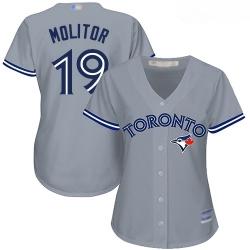 Blue Jays #19 Paul Molitor Grey Road Women Stitched Baseball Jersey