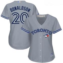 Blue Jays #20 Josh Donaldson Grey Road Women Stitched Baseball Jersey