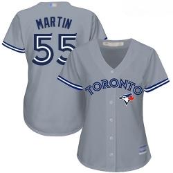 Blue Jays #55 Russell Martin Grey Road Women Stitched Baseball Jersey