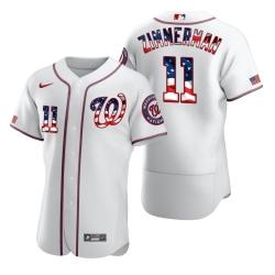 Men Washington Nationals 11 Ryan Zimmerman Men Nike White Fluttering USA Flag Limited Edition Flex Base MLB Jersey