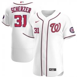 Men Washington Nationals 31 Max Scherzer Men Nike White Home 2020 Flex Base Player MLB Jersey