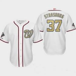 Men Washington Nationals 37 Stephen Strasburg  White 2019 World Series Champions Gold Program Cool Base Jersey