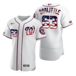 Men Washington Nationals 63 Sean Doolittle Men Nike White Fluttering USA Flag Limited Edition Flex Base MLB Jersey