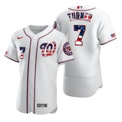 Men Washington Nationals 7 Trea Turner Men Nike White Fluttering USA Flag Limited Edition Flex Base MLB Jersey