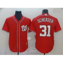 Nationals 31 Max Scherzer Red Cool Base Jersey