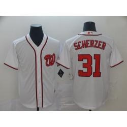 Nationals 31 Max Scherzer White Cool Base Jersey