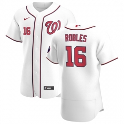 Washington Nationals 16 Victor Robles Men Nike White Home 2020 Authentic Player MLB Jersey