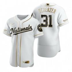Washington Nationals 31 Max Scherzer White Nike Mens Authentic Golden Edition MLB Jersey