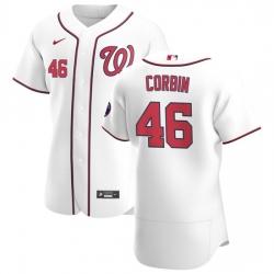 Washington Nationals 46 Patrick Corbin Men Nike White Home 2020 Authentic Player MLB Jersey