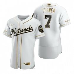 Washington Nationals 7 Trea Turner White Nike Mens Authentic Golden Edition MLB Jersey