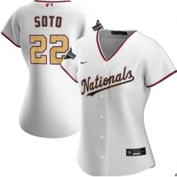 Women Nationals 22 Juan Soto White Gold Women Nike 2020 Gold Program Cool Base Jersey