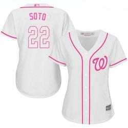 Nationals #22 Juan Soto White Pink Fashion Women Stitched Baseball Jersey