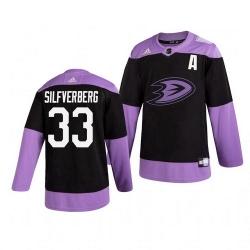 Ducks 33 Jakob Silfverberg Black Purple Hockey Fights Cancer Adidas Jersey