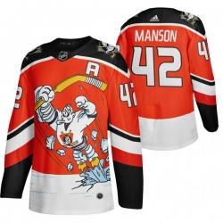 Men Anaheim Ducks 42 Josh Manson Red Adidas 2020 21 Reverse Retro Alternate NHL Jersey