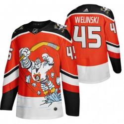 Men Anaheim Ducks 45 Andy Welinski Red Adidas 2020 21 Reverse Retro Alternate NHL Jersey