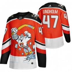 Men Anaheim Ducks 47 Hampus Lindholm Red Adidas 2020 21 Reverse Retro Alternate NHL Jersey