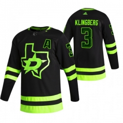Men Dallas Stars 3 John Klingberg Black Adidas 2020 21 Reverse Retro Alternate NHL Jersey