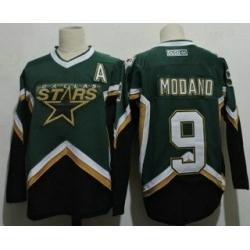 Men Dallas Stars 9 Mike Modano 2005 Green CCM Throwback Stitched Vintage Hockey Jersey