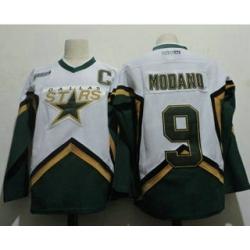 Men Dallas Stars 9 Mike Modano 2005 White CCM Throwback Stitched Vintage Hockey Jersey