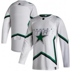Men Dallas Stars Blank White 2020 21 Reverse Retro Adidas Jersey