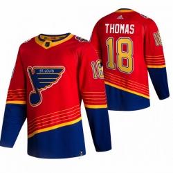 Men St  Louis Blues 18 Robert Thomas Red Adidas 2020 21 Reverse Retro Alternate NHL Jersey