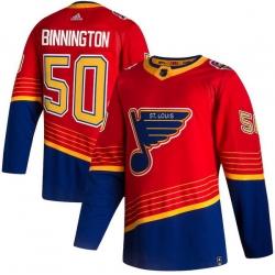 Men St.Louis Blues 50 Jordan Binnington Red 2020 21 Reverse Retro Adidas Jersey