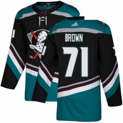 Mens Adidas Anaheim Ducks 71 JT Brown Authentic Black Teal Third NHL Jersey