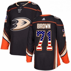 Mens Adidas Anaheim Ducks 71 JT Brown Authentic Black USA Flag Fashion NHL Jersey