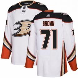 Mens Adidas Anaheim Ducks 71 JT Brown Authentic White Away NHL Jersey