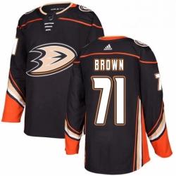 Mens Adidas Anaheim Ducks 71 JT Brown Premier Black Home NHL Jersey