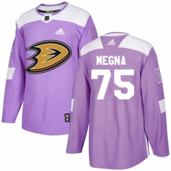 Mens Adidas Anaheim Ducks 75 Jaycob Megna Authentic Purple Fights Cancer Practice NHL Jersey