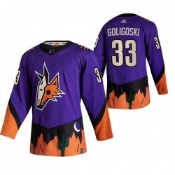 Men Arizona Coyotes 33 Alex Goligoski Purple Adidas 2020 21 Reverse Retro Alternate NHL Jersey