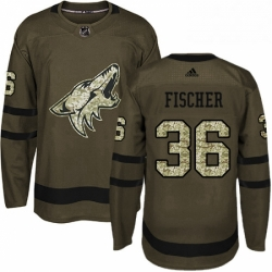 Mens Adidas Arizona Coyotes 36 Christian Fischer Premier Green Salute to Service NHL Jersey