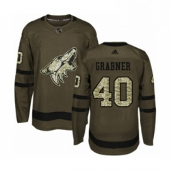 Mens Adidas Arizona Coyotes 40 Michael Grabner Authentic Green Salute to Service NHL Jersey