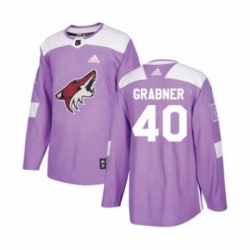 Mens Adidas Arizona Coyotes 40 Michael Grabner Authentic Purple Fights Cancer Practice NHL Jersey