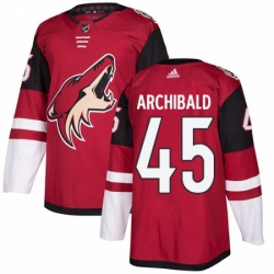 Mens Adidas Arizona Coyotes 45 Josh Archibald Authentic Burgundy Red Home NHL Jerse