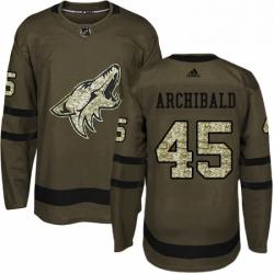 Mens Adidas Arizona Coyotes 45 Josh Archibald Authentic Green Salute to Service NHL Jerse