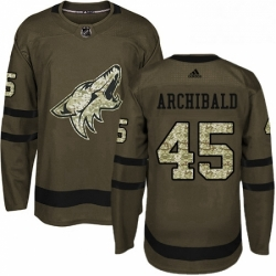 Mens Adidas Arizona Coyotes 45 Josh Archibald Authentic Green Salute to Service NHL Jersey
