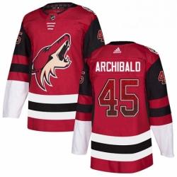 Mens Adidas Arizona Coyotes 45 Josh Archibald Authentic Maroon Drift Fashion NHL Jersey