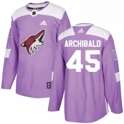 Mens Adidas Arizona Coyotes 45 Josh Archibald Authentic Purple Fights Cancer Practice NHL Jersey