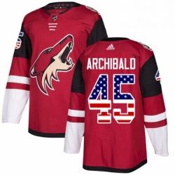 Mens Adidas Arizona Coyotes 45 Josh Archibald Authentic Red USA Flag Fashion NHL Jerse