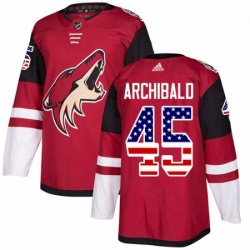 Mens Adidas Arizona Coyotes 45 Josh Archibald Authentic Red USA Flag Fashion NHL Jersey