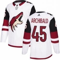 Mens Adidas Arizona Coyotes 45 Josh Archibald Authentic White Away NHL Jersey