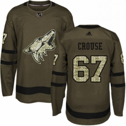 Mens Adidas Arizona Coyotes 67 Lawson Crouse Premier Green Salute to Service NHL Jersey