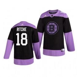 Bruins 18 Brett Ritchie Black Purple Hockey Fights Cancer Adidas Jersey