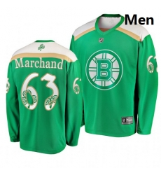 Bruins 63 Brad Marchand Green 2019 St  Patrick Day Adidas Jersey